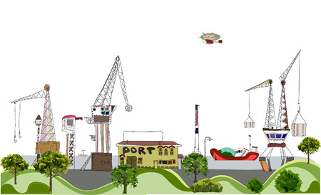 consignee: Port of the big city, City collection Illustration