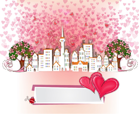 Valentine s background, City of love Vector