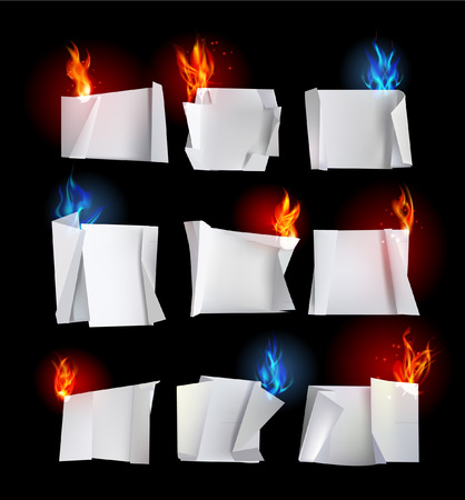paper backgrounds Origami and flames Vector