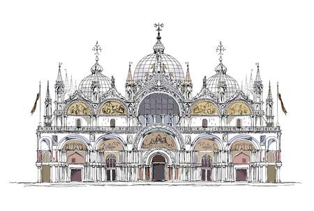 basilica San Marco, Venice sketch collection Vector