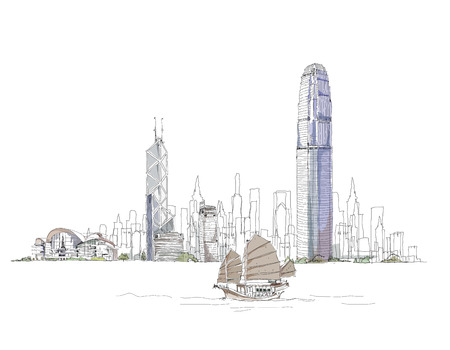 hong kong harbour: Hong Kong artistic sketch