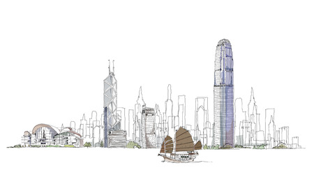 Artistic sketch of Hong Kong bay, sketch collection Ilustracja