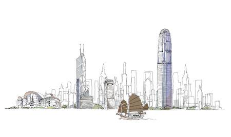 Artistic sketch of Hong Kong bay, sketch collection Illustration