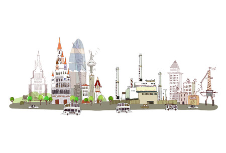 the energy center: City and factory illustration