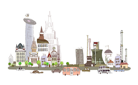 City, busy road and factory illustration, environmental concept Illustration