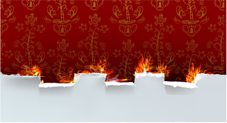 ripped paper background: Ripped paper background and flames