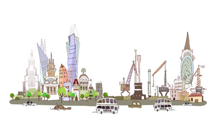 City, busy road and factory illustration