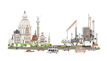 Town center, busy road and factory illustration