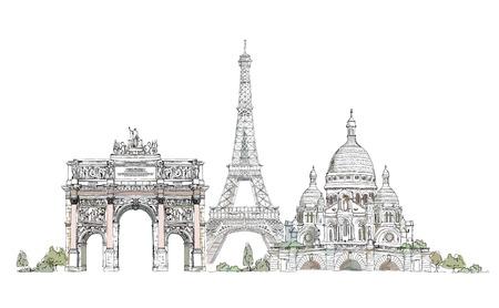 Paris illustratie, Schets collectie Triumph boog, Eiffeltoren en Heilig Hart in Montmartre Stock Illustratie