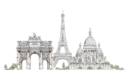 Paris illustration, Sketch collection Triumph arch, Eiffel tower and Sacred Heart in Montmartre