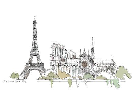 Paris illustratie, schets collectie Eiffeltoren en de Notre Dame Stock Illustratie
