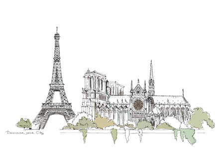 seine: Paris Illustration, Sketch collection Eiffel tower and Notre Dame