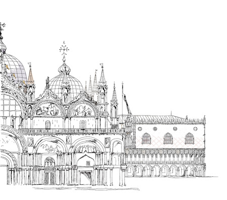 San Marco and Doge s palace, Venice Sketch collection Vector