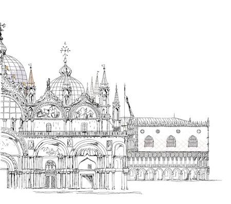 San Marco et le palais des Doges, Venise collection Sketch Banque d'images - 26530773