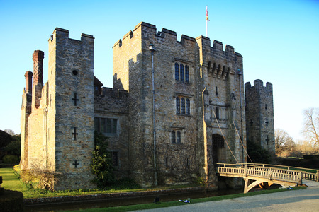 HEVER CASTLE AND GARDENS, KENT, UK - MARCH 10, 2014  13th century castle with Tudor manor house and 250 acre of park