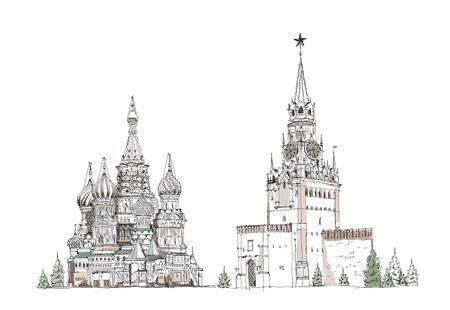 Moscú, colección boceto, la catedral St Vasil y torre Spasskaya en la Plaza Roja Ilustración de vector