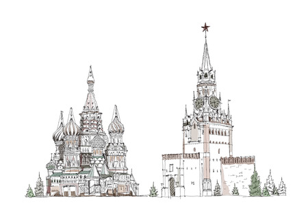 Moscow, sketch collection, St  Vasil cathedral and Spasskaya tower on the Red Square
