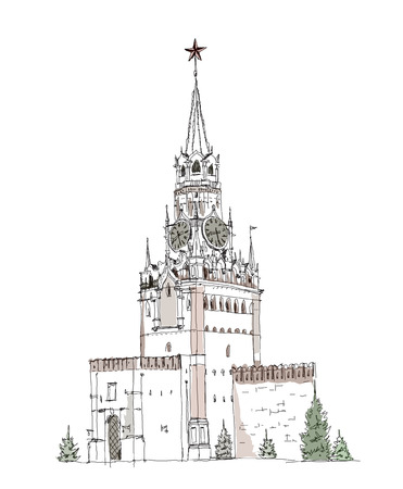 Moscow, sketch collection, Spasskaya tower on the Red Square Vector