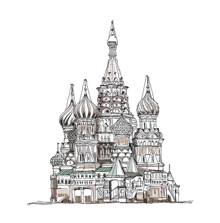 Moscow, sketch collection, St  Vasil cathedral on the Red Square Vector