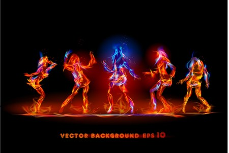 disco symbol: Dancing girls made of fire