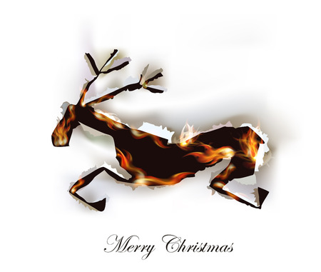 ripped paper collection, Reindeer and flames Vector