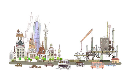 City and factory on the busy road, City collection  Vector