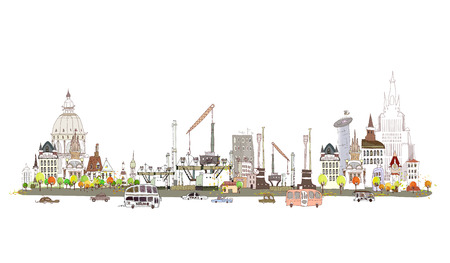 City and factory on the busy road, City collection  Illustration