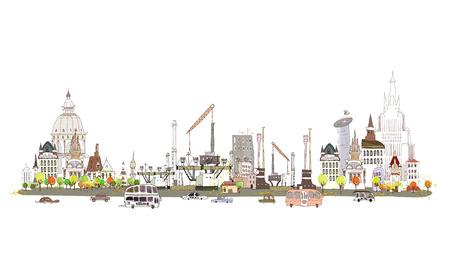 Miasto i fabryki na ruchliwej drodze, kolekcja Miasto Ilustracje wektorowe