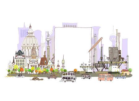 paesaggio industriale: Città e fabbrica sullo sfondo strada trafficata