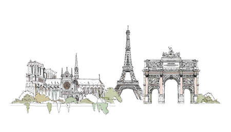 french culture: Sketch of Eiffel Tower, Notre Dame and Triumph Arch in Paris,  Sketch collection