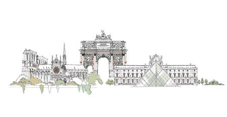 Sketch of  Notre Dame, Luevre and Triumph Arch in Paris,  Sketch collection