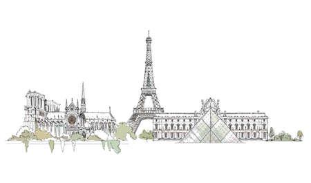 famous: 艾菲爾鐵塔,巴黎聖母院和盧浮宮的巴黎素描,速寫集 向量圖像