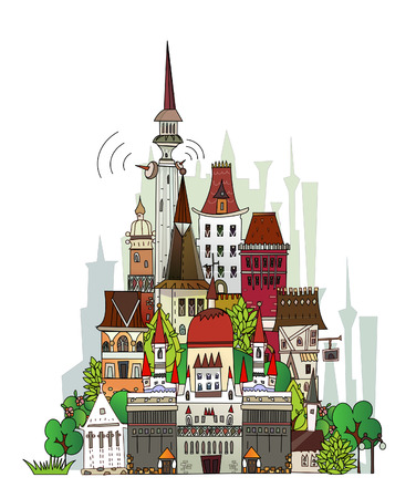 Town illustration Vector