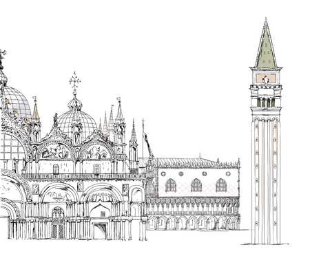 Basilica San Marco and Doge s palace, mail square, Venice sketch collection