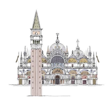 サン ・ マルコ寺院、メール広場、ヴェネツィアのスケッチのコレクション  イラスト・ベクター素材