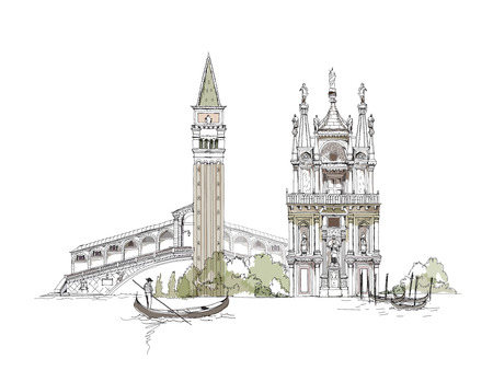 Collection Venise de croquis, Canal Grande, pont et maison privée illustration Banque d'images - 27096738