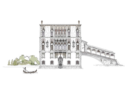 mediterranean homes:  Venice sketch collection, Canal Grande, bridge and private house illustration Illustration