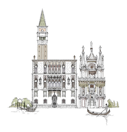 doges:  Venice sketch collection, Canal Grande, bridge and private house illustration Stock Photo