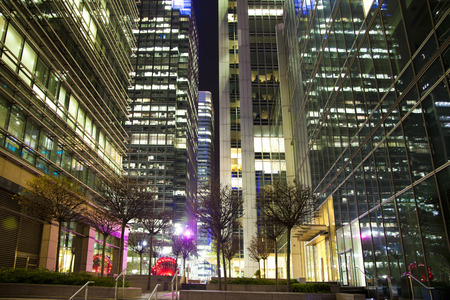 Canary Wharf tube mail square in the night, modern business aria taking more than 100 000 workers every day