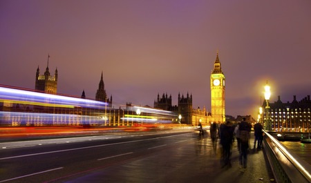 Night view of Big Ben and Houses of Parliament, London UK  photo