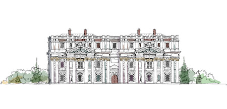 royal house: Greenwich house view, Royal Navy collage, London, Sketch collection  Illustration