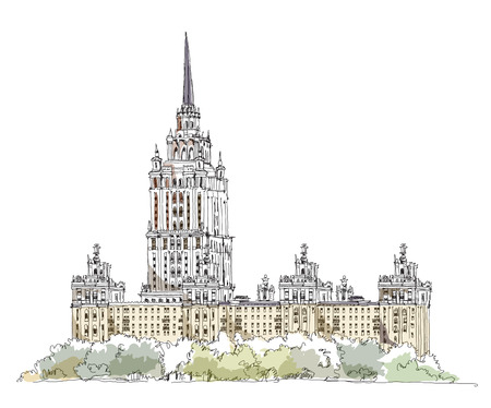 stalin: Moscow Stalin s building, Hotel Ukraine, Sketch collection Illustration