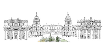 Greenwich view, Royal Navy collage, Royal chapel and Queen s palace, London, Sketch collection  Vector