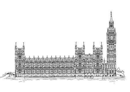 Big Ben and Houses of Parliament, London UK  Sketch collection Stock Vector - 27869067
