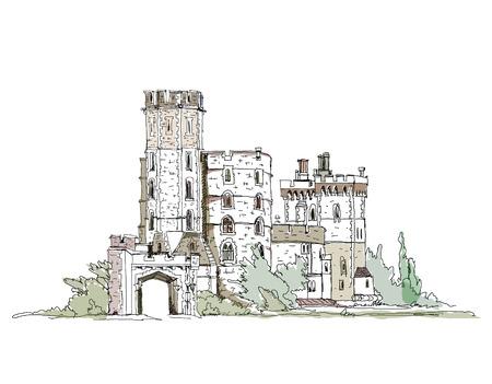 Castillo de Windsor, Inglaterra, colección castillo Sketch favorita Queen s Foto de archivo - 27869069