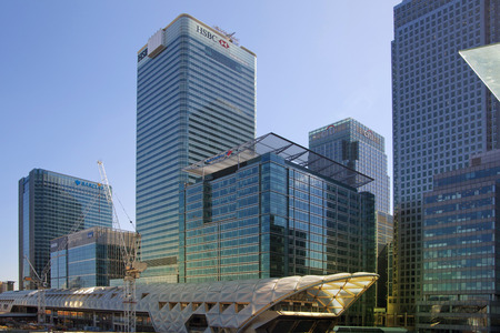 LONDON, UK - APRIL 24, 2014  Modern architecture of Canary Wharf the leading centre of global finance