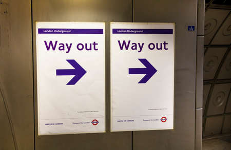 way out: LONDON, UK - MAY 14, 2014  London tube, Way out sign Editorial