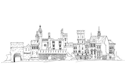 london skyline: Sketch collection, Alton towers, old English castel