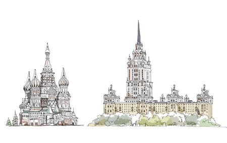 Moscow, sketch collection, St  Vasil cathedral on the Red Square and hotel Ukraine  photo
