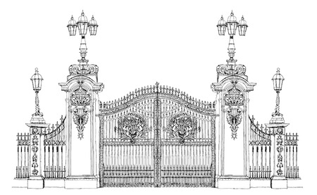 buckingham: London, sketch collection, Buckingham palace gate Stock Photo